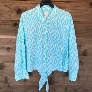 Chico's Button Down with Front Tie Blouse Size 2